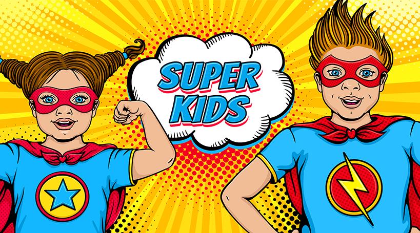 niña y niño superhero